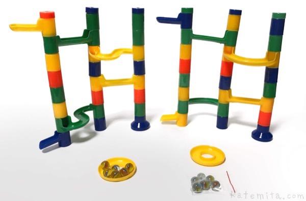100均セリアのビー玉転がし『ブロックタワーボール』を2つ繋げて巨大化して面白い!