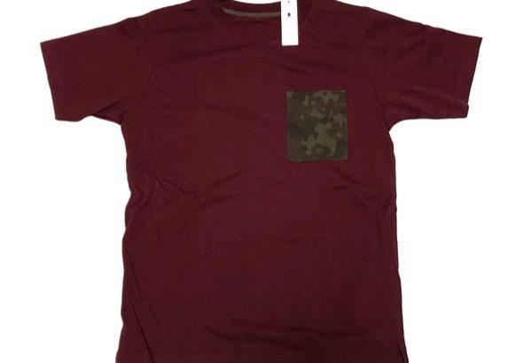グローバルワークの『ポケットキリカエTEE半袖』ワインレッドに迷彩ポッケで良い!
