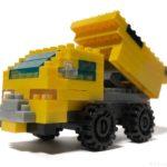 100均セリアの『ダンプカー(マイクロブロック)』はタイヤ付きで荷台が動く!