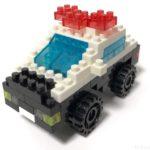 100均セリアの『パトロールカー(マイクロブロック)』はタイヤが動いてカッコイイ!