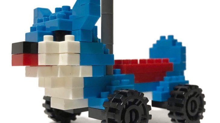 100均セリアの『Go!Go!ドッグ(マイクロブロック)』が青い犬で斬新!