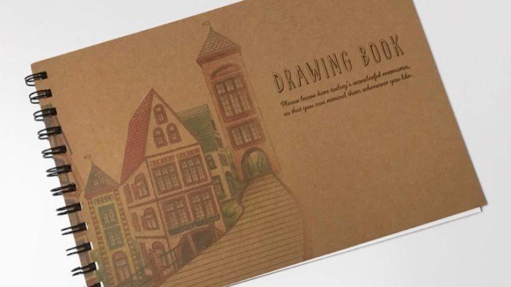 ダイソーの横開きスケッチブック『DRAWING BOOK』がオシャレでたっぷり!