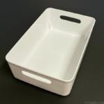 100均の『ソフトライナケースM型 ホワイト』が白色の大きめの容器で便利!